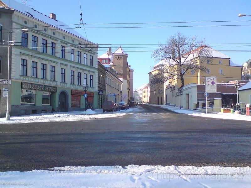 Ulice Mýtská v zimě